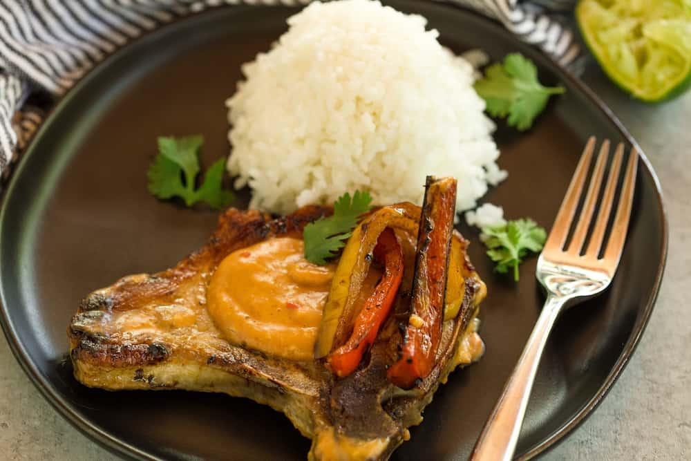 Thai Peanut Pork Chops with Coconut Rice