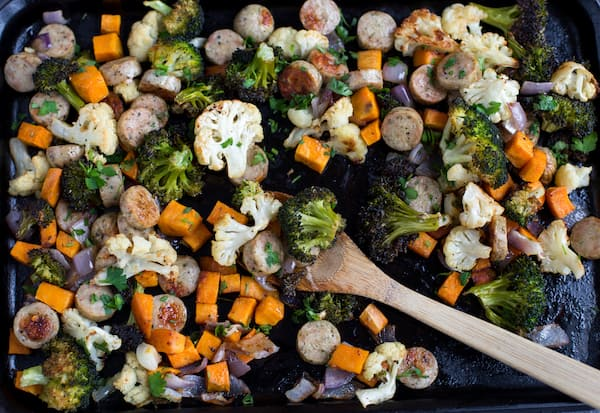 One Pan Dijon Herb Chicken Sausage and Vegetables