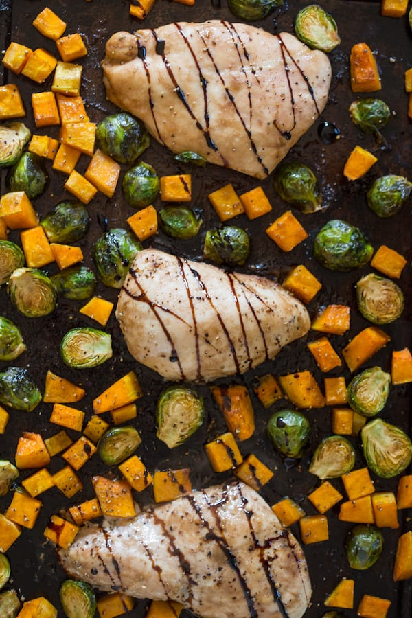 One Pan Maple Balsamic Chicken with Butternut Squash and Brussels Sprouts