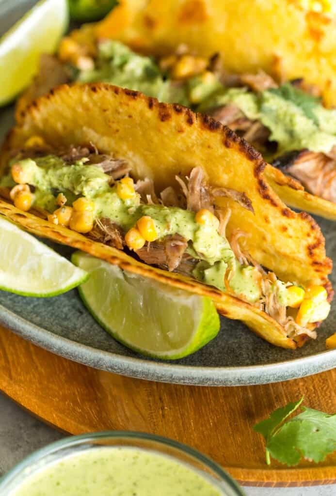 Smoked Pork Tacos with Creamy Cilantro Sauce