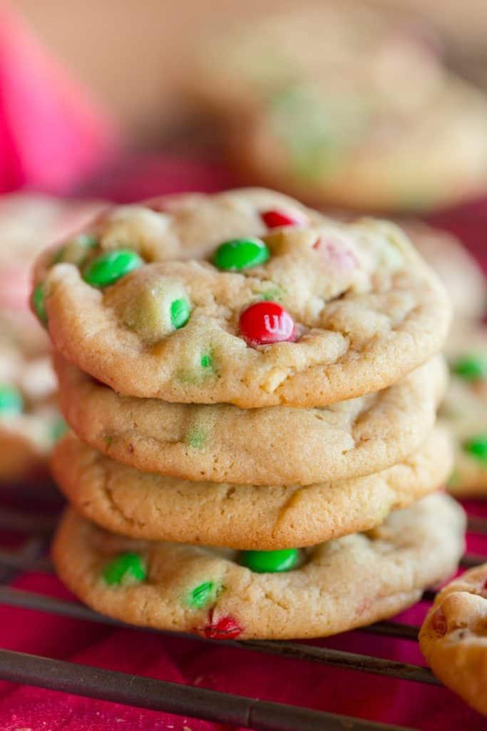 Christmas Peanut Butter M&M Cookies