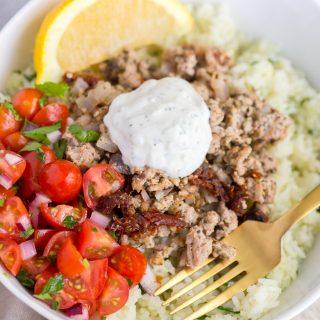 Greek Turkey Rice Bowls