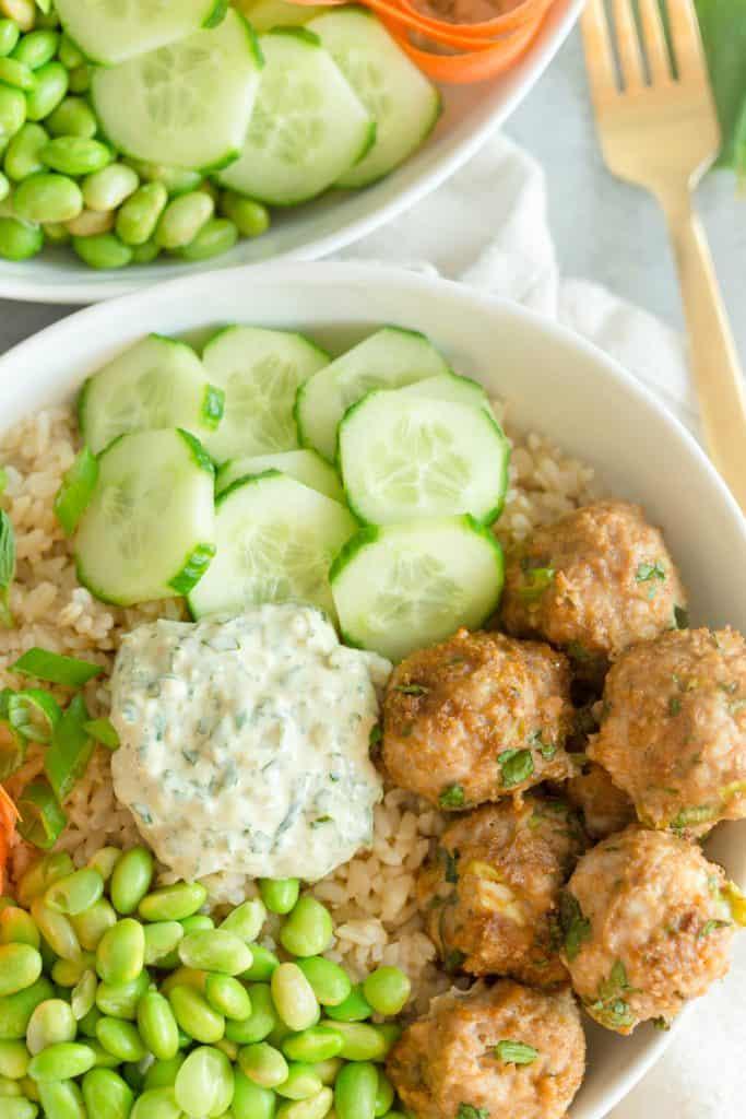 Asian Chicken Meatball Bowls