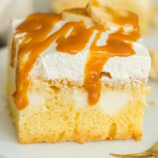 Caramel Banana Pudding Poke Cake