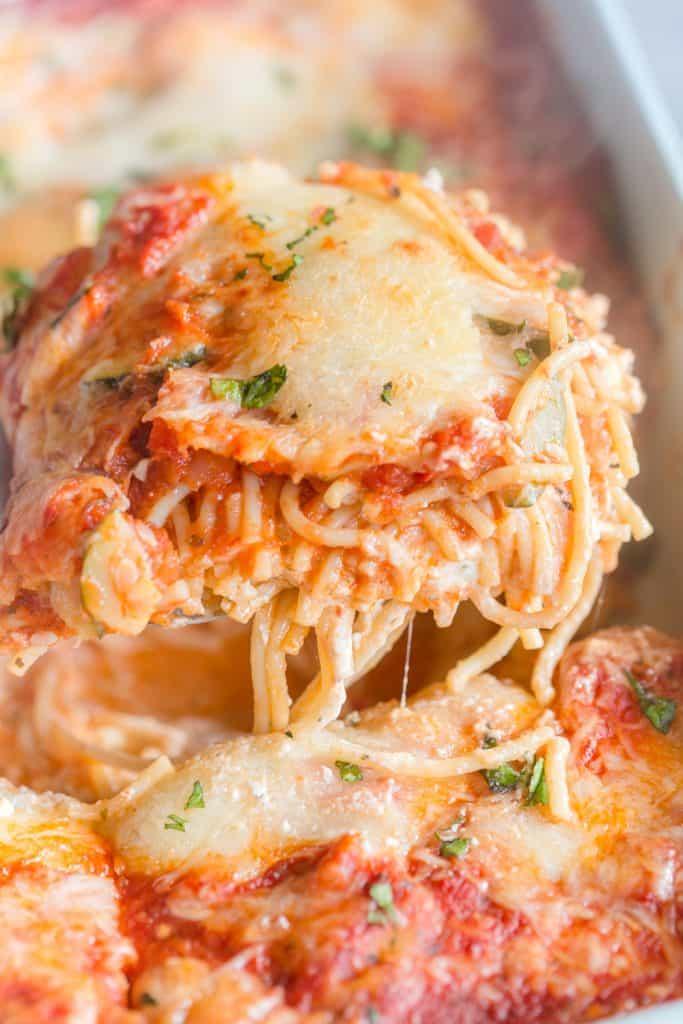 Vegetarian Million Dollar Baked Spaghetti