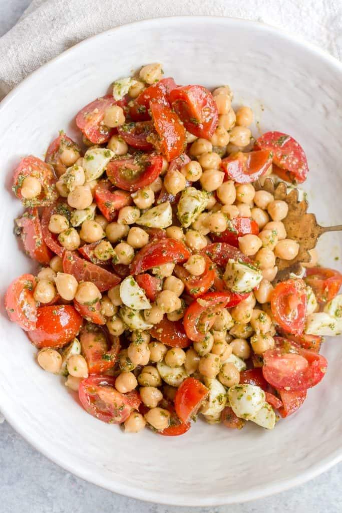 Pesto Chickpea Tomato Salad