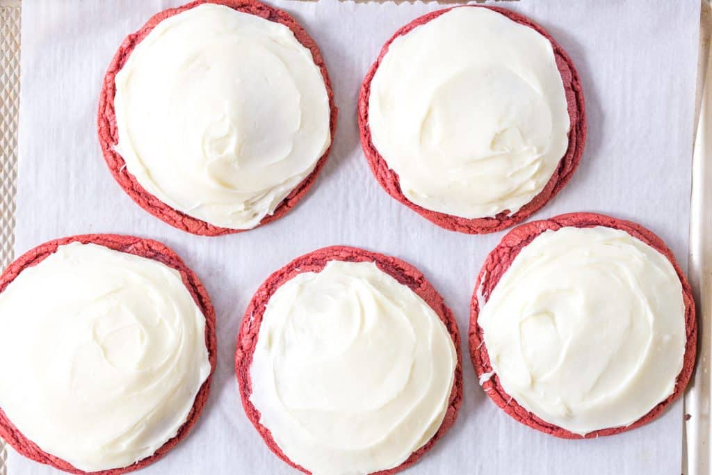 Giant Red Velvet Cookies with Cream Cheese Frosting