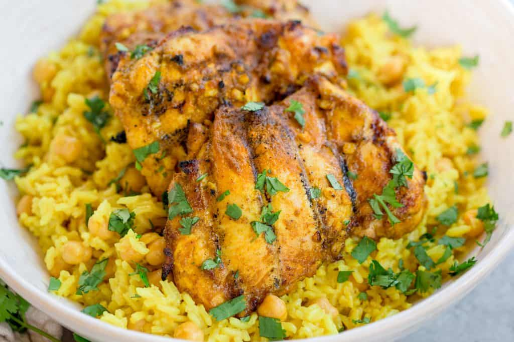 Grilled Curry Chicken with Coconut Turmeric Rice