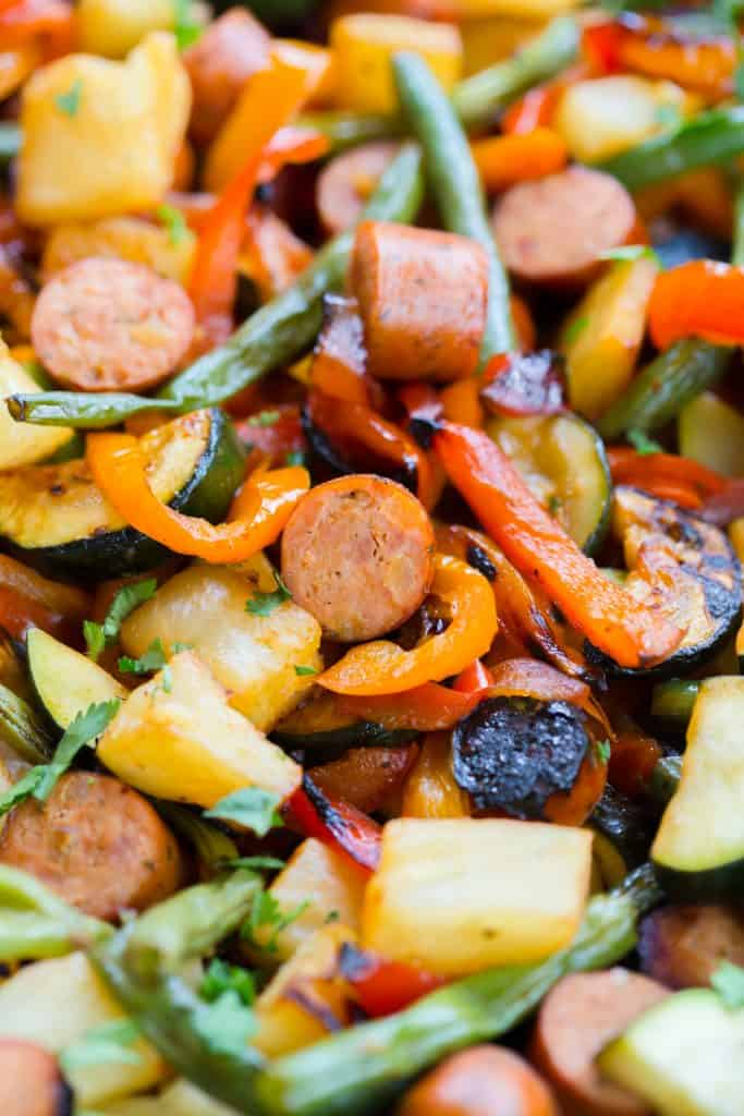 Grilled Hawaiian Sausage and Vegetables