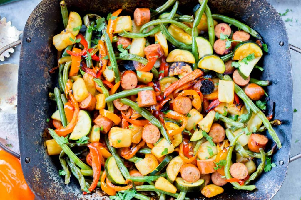 Grilled Hawaiian Sausage and Vegetables - Summer Freezer Meals